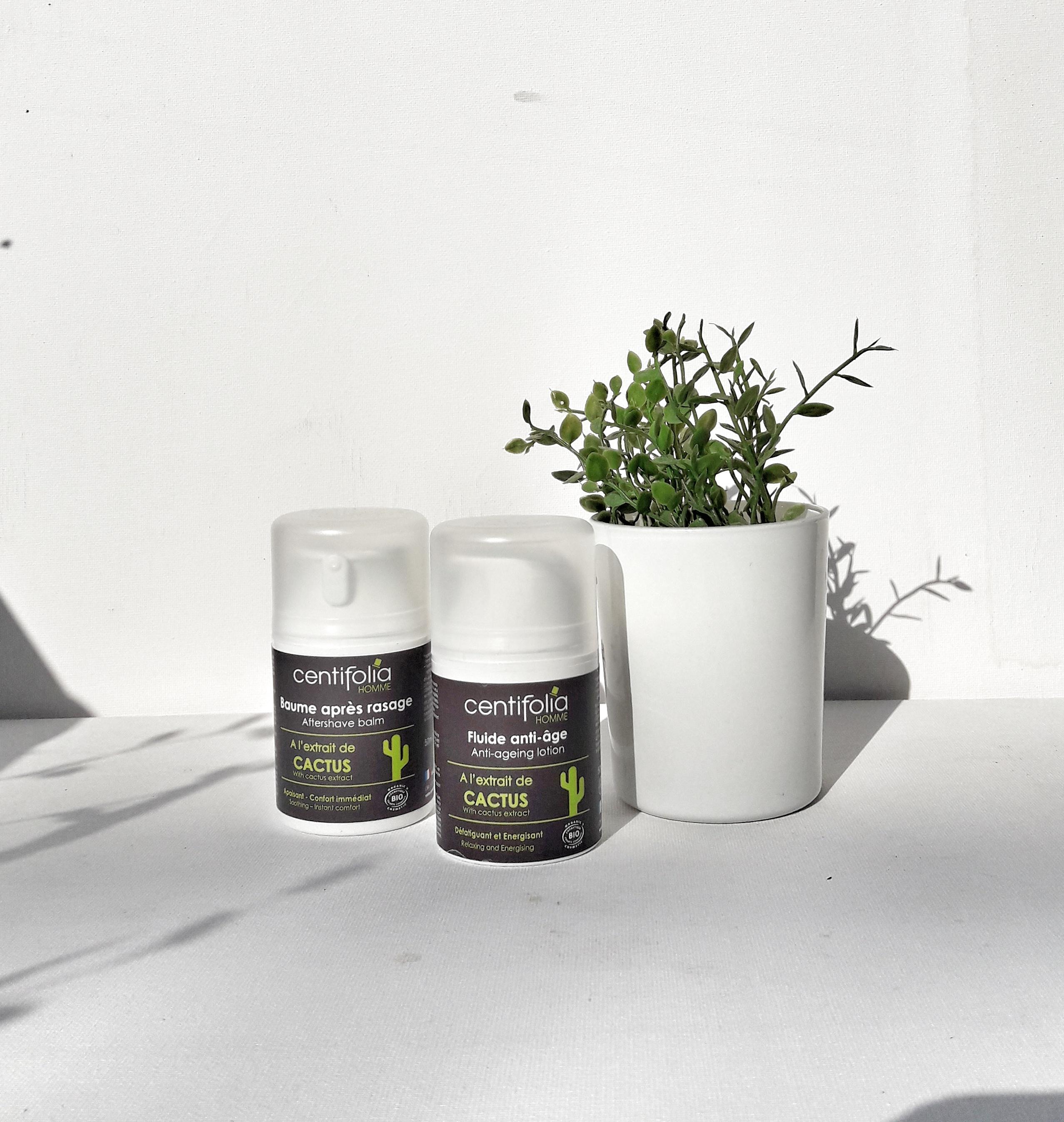 Baume après-rasage, 11,95 euros et fluide anti-âge, 14,95 euros Centifolia